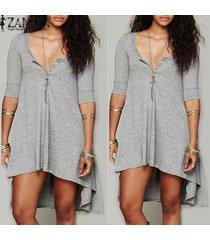 zanzea vestir ocasional de las mujeres suelta de algodón elegantes botones de cuello en v manga de la mitad más vestidos asimétricos (gris) -azul