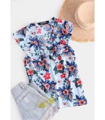 yoins camiseta sin mangas azul claro con cuello en v y estampado floral con ribete de volantes
