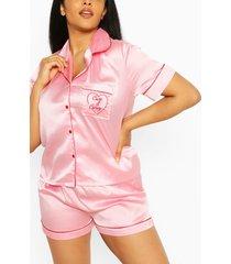 plus 'cute & curvy' pyjama set met shorts, pink