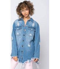 akira on the fringe of it all oversized denim jacket