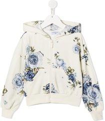 monnalisa rose print hoodie - white