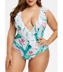 palm leaves lace panel flounces plus size swimsuit