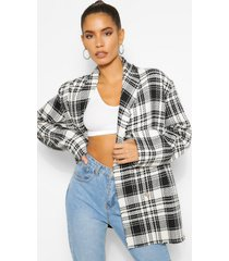 flannel boucle double breasted boxy blazer