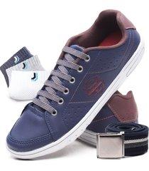 kit sapatenis casual boxion 3 pares de meia lupo + cinto azul - azul - masculino - dafiti