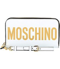 logo-print continental leather wallet