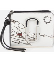 marc jacobs women's snapshot peanuts americana mini compact wallet - white multi