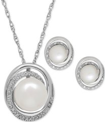 cultured freshwater pearl (7 & 8mm) and diamond accent pendant necklace and earrings set in sterling silver
