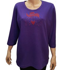 women's red hat society cowgirl bling rhinestone purple shirt with scoop neck