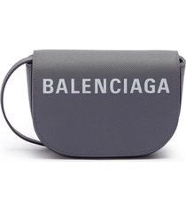 'ville day xs' logo print grainy leather crossbody bag