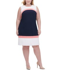 tommy hilfiger plus size colorblocked scuba crepe dress