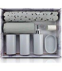 kit banheiro completo saboneteira tapete porta escovas cortina box cinza
