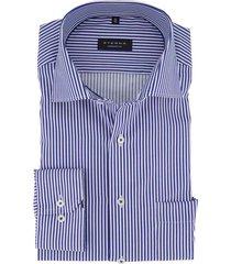 overhemd eterna blauw wit gestreept comfort fit