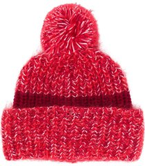 golden goose pompom-detail knitted beanie - red