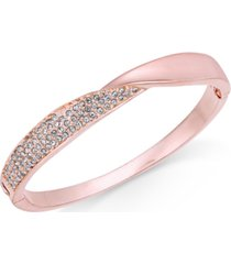 charter club rose gold-tone pave twist hinged bangle bracelet, created for macy's