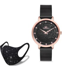 reloj hasir rose black  fashion mask con cristales ferro