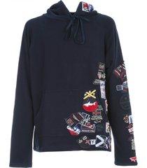 greg lauren oversized hooded sweatshirt w/maxi patch