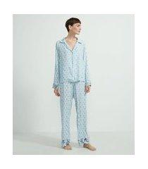 pijama americano blusa manga longa e calça em viscose estampa floral | lov | azul | g