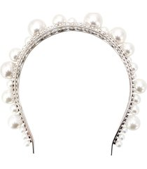 givenchy embellished structured headband - silver