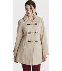abrigo manga larga con gorro beige curvi