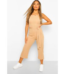 petite high neck belted rib culotte jumpsuit, stone