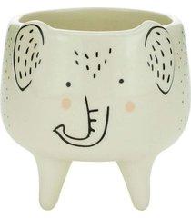 cachepot decorativo em cerã¢mica branco elefante 11cm - branco - dafiti