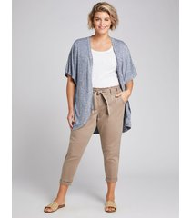 lane bryant women's pull-on belted cargo crop pant 26/28 taupe gray