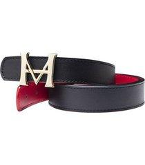 cinturon monograma doble faz nero rosso charol