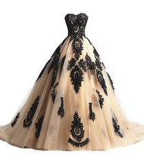 kivary champagne and black lace gothic wedding dresses corset prom evening gowns