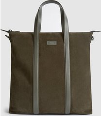 reiss huxley - suede tote bag in green, mens