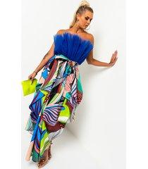 akira another level multi print flowy midi skirt