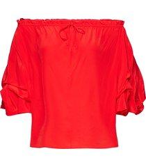 dvf georganne blouses short-sleeved rood diane von furstenberg