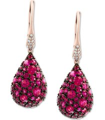 effy certified ruby (4 ct. t.w.) & diamond (1/10 ct.t.w.) drop earrings in 14k rose gold