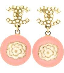 chanel cc camellia rhinestone pushback earrings pink sz: