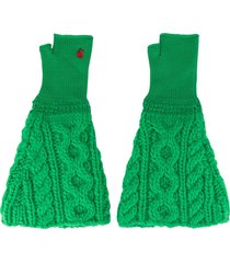 undercover cable knit gloves - green