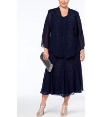 r & m richards plus size beaded v-neck dress and jacket
