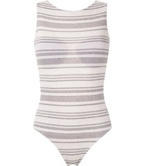 track & field amni eco soul striped swimsuit - white