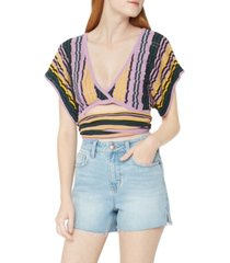 bcbgeneration striped knit wraparound cropped top