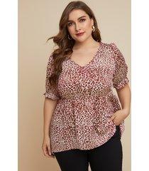 blusa de manga corta con cuello en v de leopardo rojo talla grande de yoins