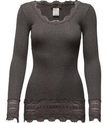 silk t-shirt medium ls w/wide lace t-shirts & tops long-sleeved grijs rosemunde