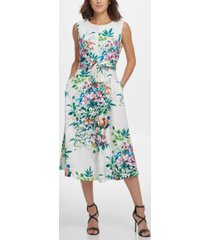 dkny s/l midi fit & flare with self belt