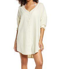 chelsea28 oversize linen blend cover-up shirt, size xx-small in ivory shadow at nordstrom