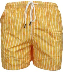 men's orange boxer swimsuit with white stripes