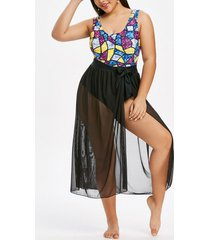 plus size sparkly print one-piece swimsuit and tie waist sarong set