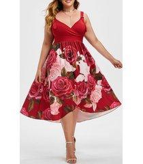 floral buckle straps overlap surplice plus size dress