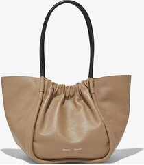 proenza schouler large ruched tote light taupe/neutrals one size