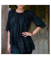 pin tuck long tunic, 'sheer java night' (indonesia)