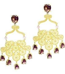 brinco arabesco  semijoia banho de ouro 18k cristal lilás