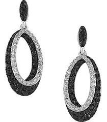 caviar black & white diamond 14k white gold drop earrings