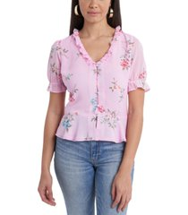 1.state ruffle-neck printed blouse