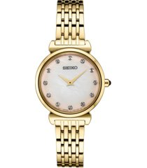 seiko women's crystals gold-tone stainless steel bracelet watch 29.6mm